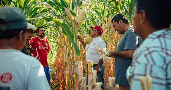 Technician talks to farmers
