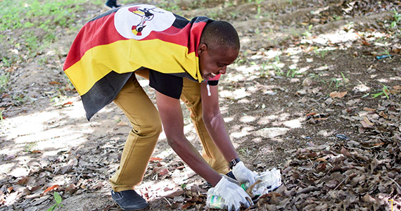 Younis Sebaggala takes part in a service project.