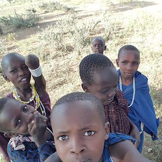Maasai children take selfie