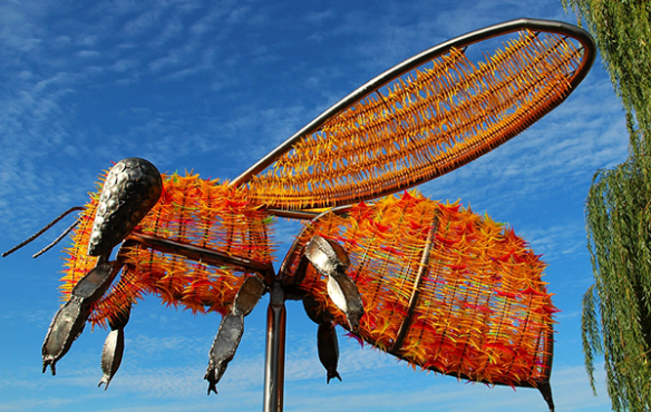 Huge bee sculpture