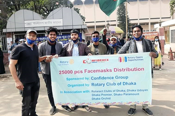 Rotary Club of Dhaka facemask distributions