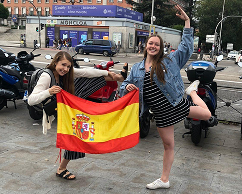 Mia Henderson and host sister on Spain Day