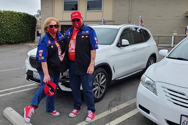 Jayne Hulbert and her husband, Gene, at the Road Rally to End Polio in 2020.